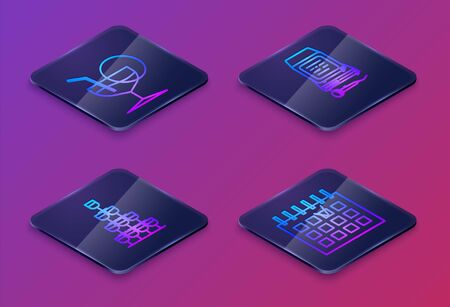 Set Isometric line Martini glass , Wine glasses stacked in a pyramid tower , Karaoke and Detailed calendar . Blue square button. Vector Stock Illustratie