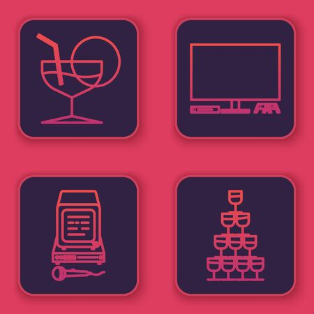 Set line Martini glass , Karaoke , Video game console and Wine glasses stacked in a pyramid tower . Blue square button. Vector