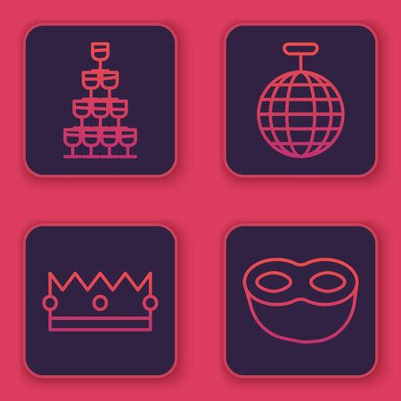 Set line Wine glasses stacked in a pyramid tower , Crown , Disco ball and Festive mask . Blue square button. Vector