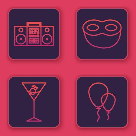 Set line Home stereo with two speakers , Martini glass , Festive mask and Balloons with ribbon . Blue square button. Vector