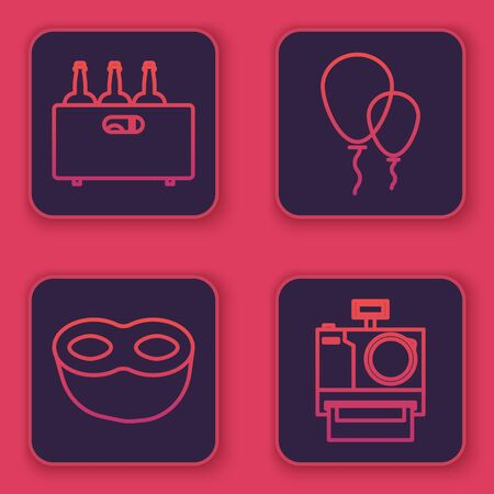 Set line Bottles of wine in a wooden box , Festive mask , Balloons with ribbon and Photo camera . Blue square button. Vector