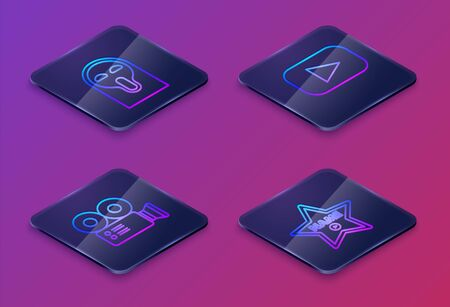 Set Isometric line Funny and scary ghost mask, Cinema camera , Play and Hollywood walk of fame star on celebrity boulevard . Blue square button. Vector