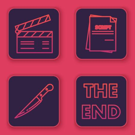 Set line Movie clapper , Knife , Scenario and The End handwritten inscription . Blue square button. Vector