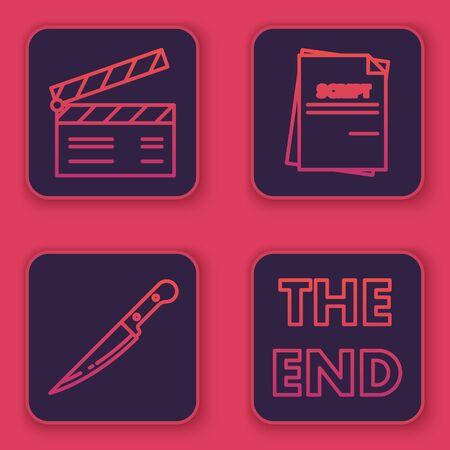 Set line Movie clapper , Knife , Scenario and The End handwritten inscription . Blue square button. Vector