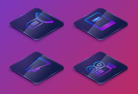 Set Isometric line Movie spotlight , Megaphone , Scenario and Cinema camera . Blue square button. Vector