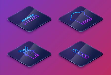 Set Isometric line Electronic scales , Windmill , Chef hat and French baguette bread . Blue square button. Vector Vettoriali