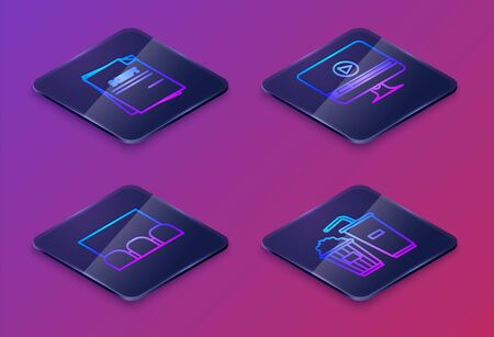 Set Isometric line Scenario , Cinema auditorium with screen and seats , Online play video and Popcorn and soda drink glass. Blue square button. Vector Иллюстрация