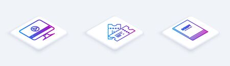 Set Isometric line Online play video , Cinema ticket and Scenario . White square button. Vector Çizim