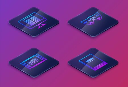 Set Isometric line Buy cinema ticket online , 4k movie, tape, frame , Comedy and tragedy theatrical masks and Scenario . Blue square button. Vector