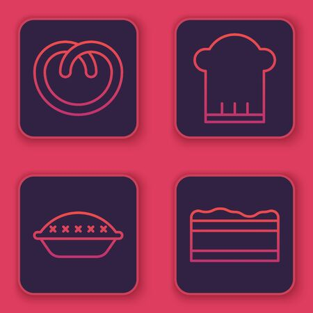 Set line Pretzel , Homemade pie , Chef hat and Brownie chocolate cake . Blue square button. Vector