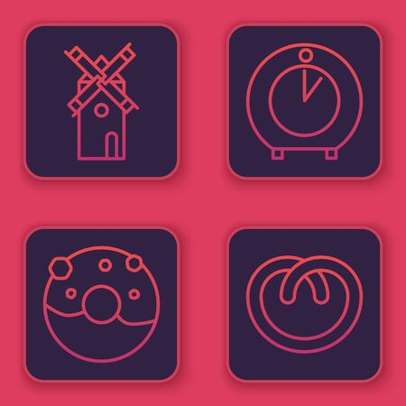 Set line Windmill , Donut with sweet glaze , Kitchen timer and Pretzel . Blue square button. Vector Vettoriali