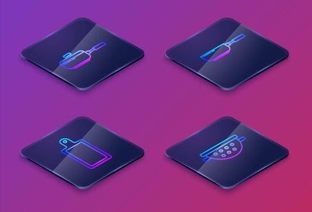 Set Isometric line Frying pan , Cutting board , Frying pan and Kitchen colander . Blue square button. Vector