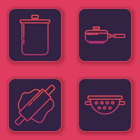 Set line Cooking pot , Rolling pin , Frying pan and Kitchen colander . Blue square button. Vector