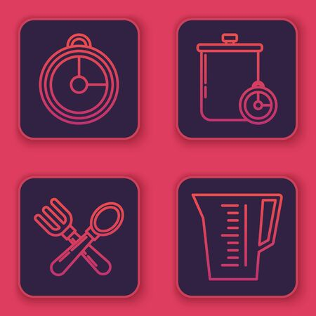 Set line Kitchen timer , Crossed fork and spoon , Cooking pot and kitchen timer and Measuring cup. Blue square button. Vector