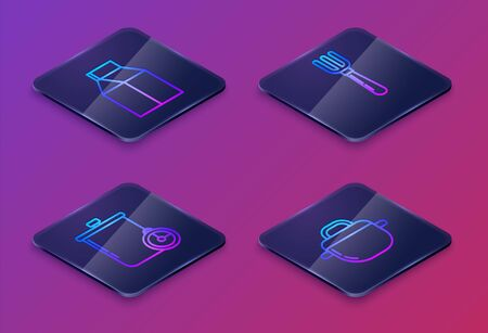 Set Isometric line Paper package for milk , Cooking pot and kitchen timer , Fork and Cooking pot . Blue square button. Vector Illustration