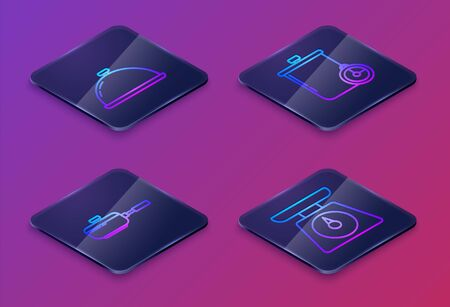 Set Isometric line Covered with a tray of food , Frying pan , Cooking pot and kitchen timer and Scales . Blue square button. Vector