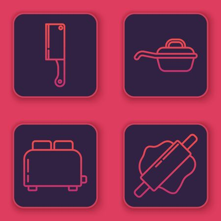 Set line Meat chopper , Toaster with toasts , Frying pan and Rolling pin . Blue square button. Vector