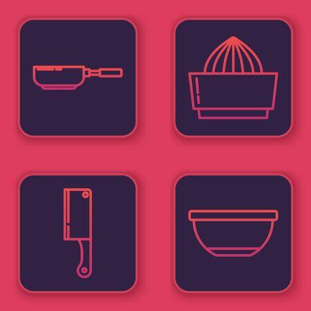 Set line Frying pan , Meat chopper , Citrus fruit juicer and Bowl . Blue square button. Vector
