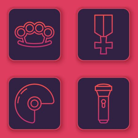 Set line Brass knuckles , Military helmet , Military reward medal and Flashlight . Blue square button. Vector Illustration