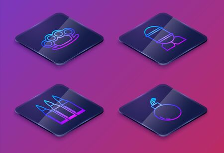Set Isometric line Brass knuckles , Bullet , Aviation bomb and Bomb ready to explode . Blue square button. Vector