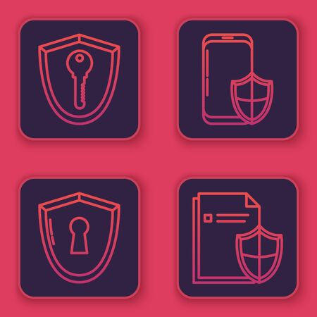 Set line Shield with key , Shield with keyhole , Smartphone with security shield and Document protection concept . Blue square button. Vector
