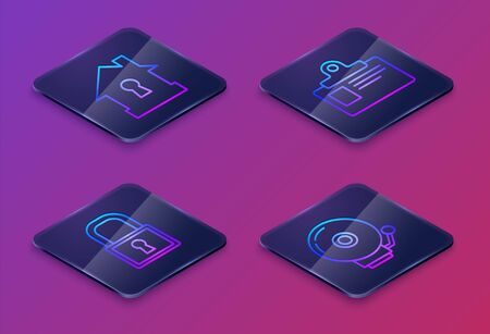 Set Isometric line House under protection , Lock , Identification badge and Ringing alarm bell . Blue square button. Vector  イラスト・ベクター素材