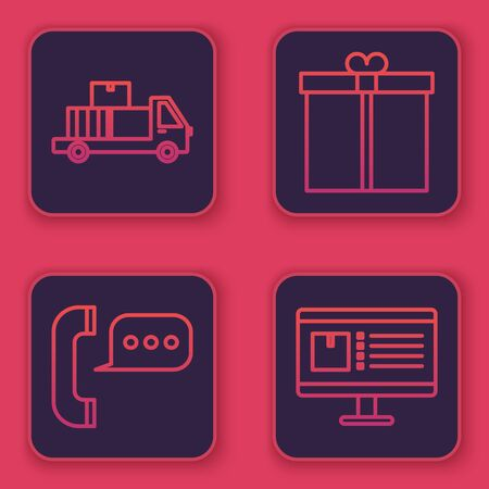 Set line Delivery truck with cardboard boxes, Telephone with speech bubble chat , Gift box and Computer monitor with app delivery tracking . Blue square button. Vector