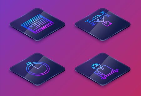 Set Isometric line Laptop with app delivery tracking , Stopwatch , Delivery drone with the package and Scale with cardboard box . Blue square button. Vector