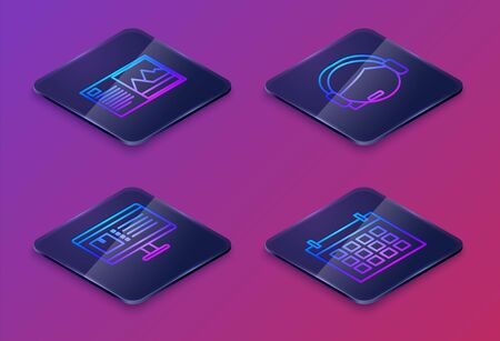Set Isometric line Postcard , Computer monitor with app delivery tracking , Support operator in touch and Calendar . Blue square button. Vector