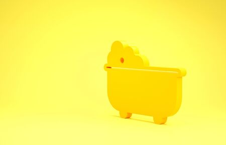 Yellow Baby bathtub with foam bubbles inside icon isolated on yellow background. Minimalism concept. 3d illustration 3D render
