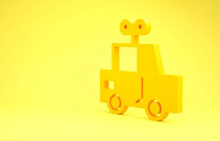 Yellow Toy car icon isolated on yellow background. Minimalism concept. 3d illustration 3D render Zdjęcie Seryjne