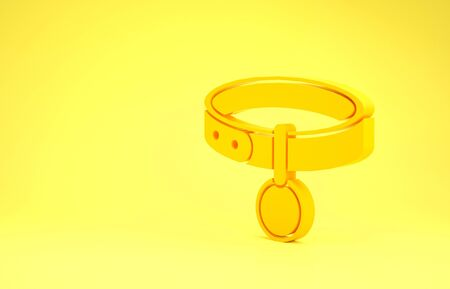 Yellow Collar with name tag icon isolated on yellow background. Simple supplies for domestic animal. Cat and dog care. Pet chains. Minimalism concept. 3d illustration 3D render Reklamní fotografie