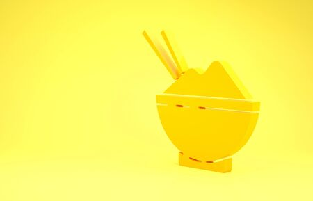 Yellow Rice in a bowl with chopstick icon isolated on yellow background. Traditional Asian food. Minimalism concept. 3d illustration 3D render Banque d'images - 137488712
