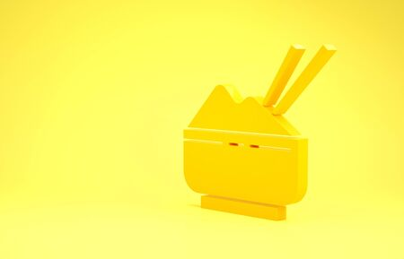 Yellow Rice in a bowl with chopstick icon isolated on yellow background. Traditional Asian food. Minimalism concept. 3d illustration 3D render Banque d'images - 137488732