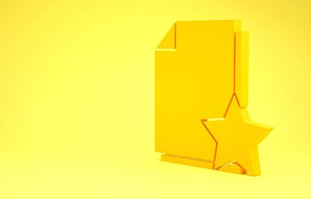 Yellow Document with star icon isolated on yellow background. Document best, favorite, rating symbol. Minimalism concept. 3d illustration 3D render Reklamní fotografie