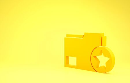 Yellow Document folder with star icon isolated on yellow background. Document best, favorite, rating symbol. Minimalism concept. 3d illustration 3D render