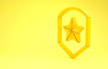 Yellow Police badge icon isolated on yellow background. Sheriff badge sign. Shield with star symbol. Minimalism concept. 3d illustration 3D render