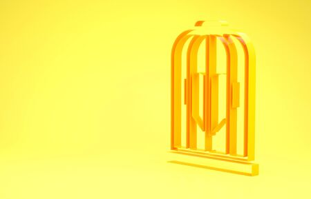 Yellow Heart in the bird cage icon isolated on yellow background. Love sign. Valentines symbol. Minimalism concept. 3d illustration 3D render