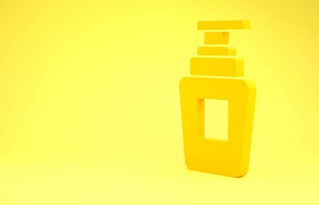 Yellow Bottle of shampoo icon isolated on yellow background. Minimalism concept. 3d illustration 3D render
