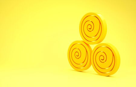 Yellow Towel rolls icon isolated on yellow background. Minimalism concept. 3d illustration 3D render