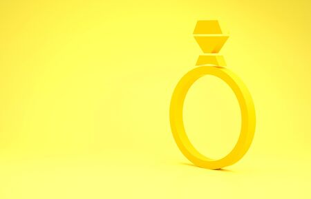 Yellow Diamond engagement ring icon isolated on yellow background. Minimalism concept. 3d illustration 3D render