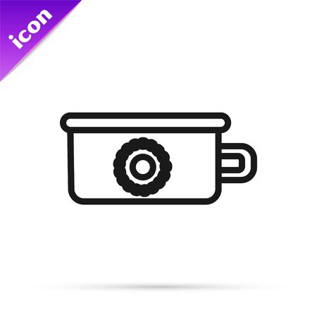 Black line Baby potty icon isolated on white background. Chamber pot. Vector Illustration