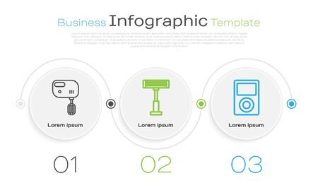 Set line Electric mixer , Electric heater and Music player . Business infographic template. Vector