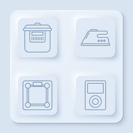 Set line Slow cooker , Electric iron , Bathroom scales and Music player . White square button. Vector