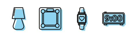 Set line Smart watch showing heart beat rate , Table lamp , Bathroom scales and Digital alarm clock icon. Vector