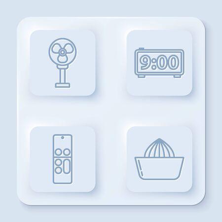 Set line Electric fan , Digital alarm clock , Remote control and Citrus fruit juicer . White square button. Vector