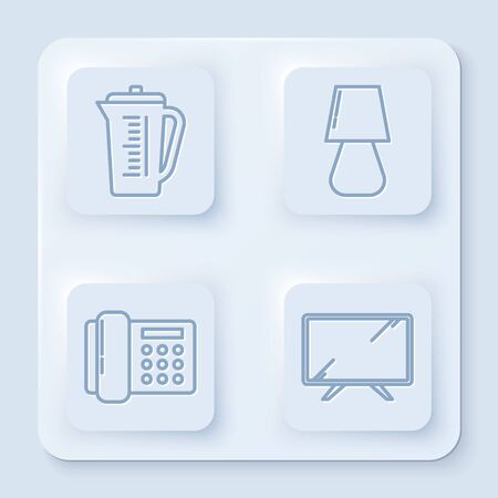 Set line Measuring cup, Table lamp , Telephone and Smart Tv . White square button. Vector