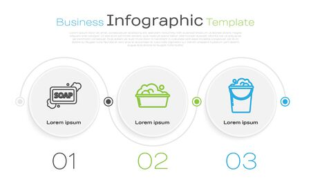 Set line Bar of soap with foam , Plastic basin with soap suds and Bucket with foam and bubbles . Business infographic template. Vector Ilustração