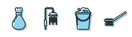 Set line Bucket with foam and bubbles , Garbage bag , Shower head with water drops flowing and Toilet brush icon. Vector