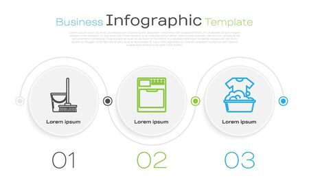 Set line Mop and bucket , Washer and Plastic basin with soap suds . Business infographic template. Vector